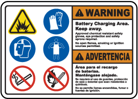 Bilingual Battery Charging Area Keep Away Sign