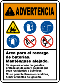 Spanish Battery Charging Area Keep Away Sign