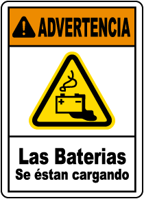 Spanish Warning Batteries Being Charged Sign