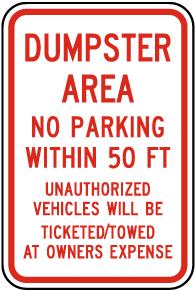 Dumpster Area No Parking Sign