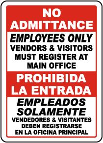 Bilingual Vendors & Visitors Must Register Sign