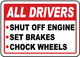 Truck Driver Parking Checklist Sign