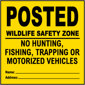 Yellow Posted Wildlife Safety Zone Sign