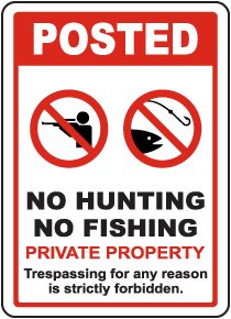 Posted No Hunting No Fishing Sign