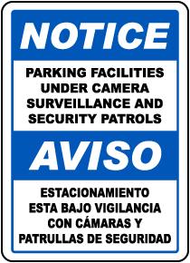 Bilingual Parking Facilities Surveillance Sign