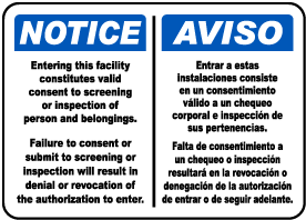 Bilingual Valid Consent To Screening Sign