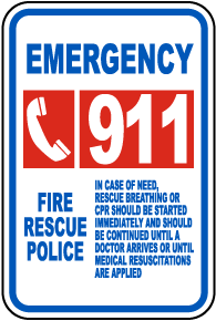 Emergency Call 911 Sign
