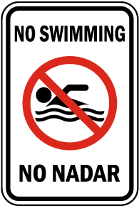Bilingual No Swimming Sign