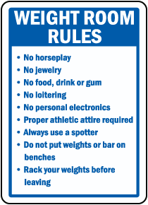 Weight Room Rules Sign