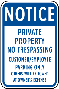 Customer Employee Parking Only Sign