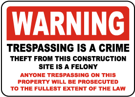 Theft From This Site Is A Crime Sign
