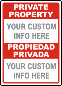 Custom Bilingual Private Property Sign