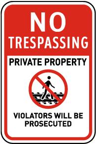No Trespassing Railroad Sign