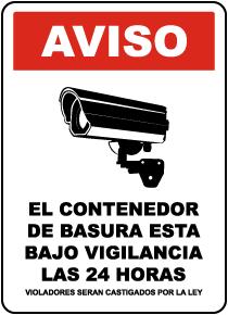 Spanish 24 Hour Dumpster Surveillance Sign
