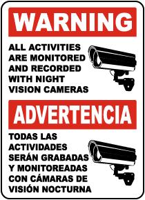 Bilingual Monitored By Night Vision Camera Sign