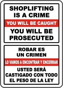 Bilingual Shoplifting Is A Crime Sign