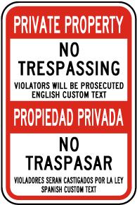 Custom Post Mount Bilingual No Trespassing Sign