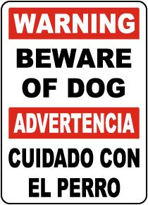 Bilingual Warning Beware Of Dog Sign