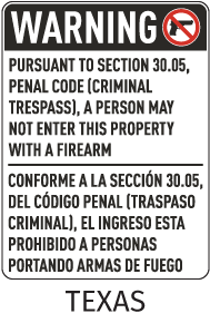 Bilingual Texas 30.05 No Firearms Allowed Sign