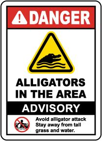 Alligators in the Area Sign