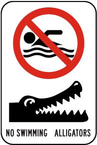 No Swimming Alligators Sign