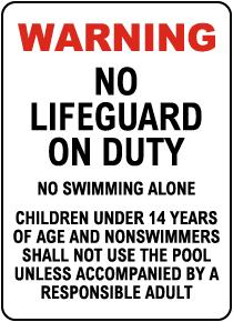 Indiana No Lifeguard Sign