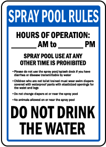 Montana Spray Pool Rules Sign
