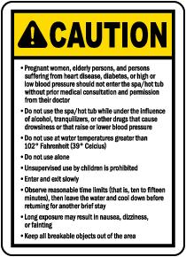 South Dakota Spa Caution Sign