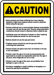 Utah Spa Rules and Warnings Sign