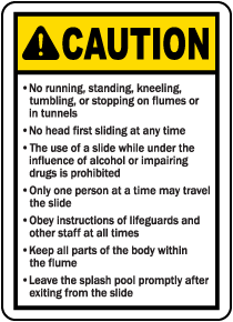 Utah Water Slide Rules Sign