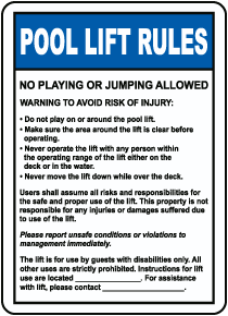 Pool Lift Rules Sign