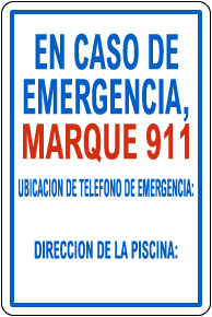 Spanish Texas In Case Of Emergency Pool Sign