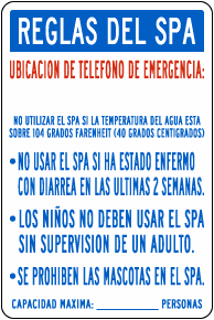 Spanish Texas Spa Rules Sign