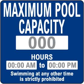 Custom Pool Sign — Capacity and Hours