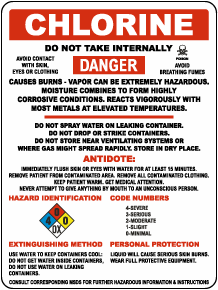 Chlorine Hazardous Warning Sign
