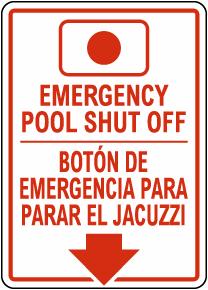 Bilingual Emergency Spa Shut Off Sign