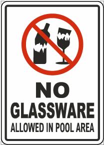 No Glassware Allowed In Pool Area Sign