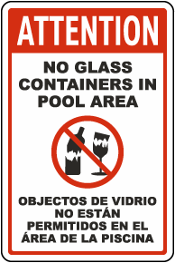 Attention No Glass Containers In Pool Area Sign