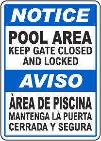 Bilingual Keep Gate Closed Pool Sign