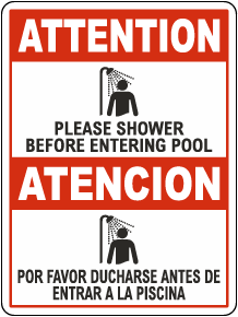 Bilingual Attention Shower Before Entering Pool Sign