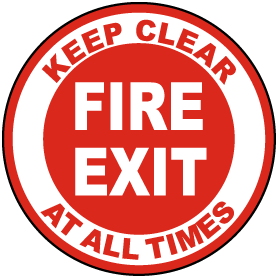 Fire Exit Keep Clear Floor Sign