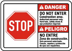 Bilingual Construction Area Do Not Enter Sign