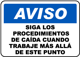 Spanish Follow Fall Protection Guidelines Sign