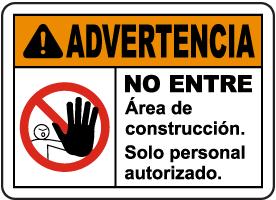 Spanish Warning Construction Area Do Not Enter Sign