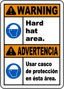 Bilingual Warning Hard Hat Area Sign