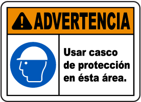 Spanish Warning Hard Hat Area Sign