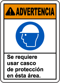 Spanish Warning Hard Hat Required In This Area Sign