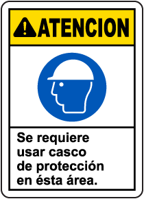 Spanish Caution Hard Hat Required In This Area Sign