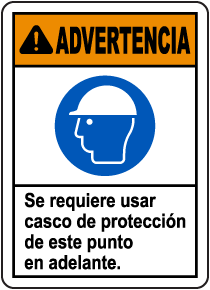 Spanish Warning Hard Hat Required Beyond This Sign