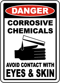 Corrosive Chemicals Avoid Contact Sign